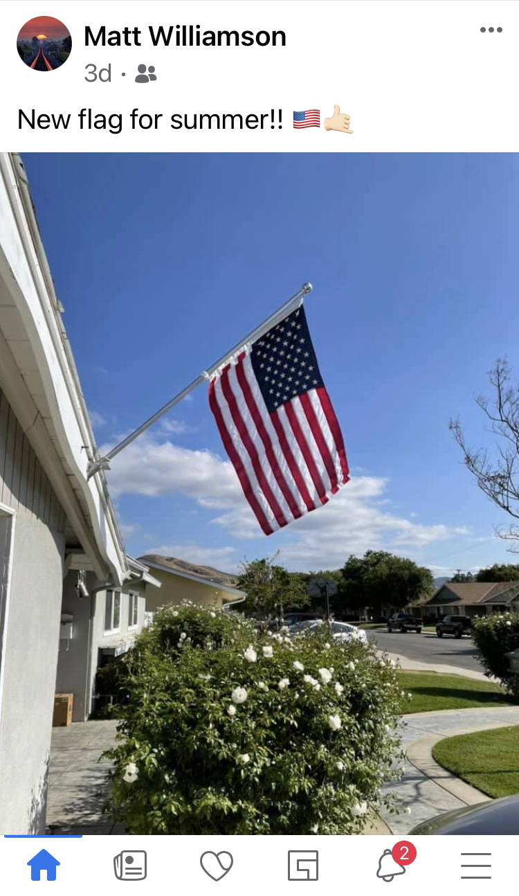 American flag flying in California in May 2021; pandemic recovery expected to bring out patriotism.